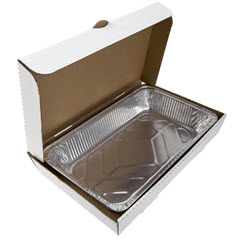 Full Pan White Corrugated Catering Box 21x13x3 CCBFP21133