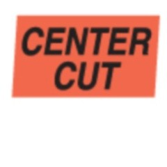 """Center Cut"" Red Dayglo Label A142"