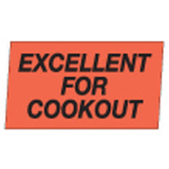 """Excellent for Cookout"" Red Dayglo Label A731"