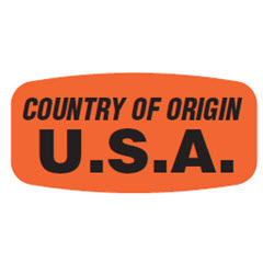 """Country of Origin"" U.S.A. Label JA5114"