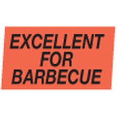 """Excellent for Barbecue"" Red Dayglo Label A244"