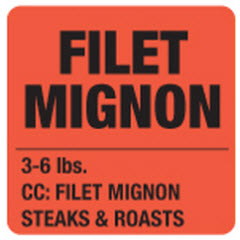 """Filet Mignon"" 3-6 lbs. Red Dayglo Label JN5205"