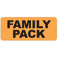 """Family Pack"" 3""x1.25"" Large Orange Dayglo Label JF5085"