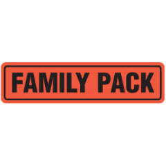 """Family Pack"" 4""x1"" Large Red Dayglo Label JF5155"