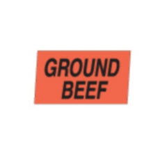 """Ground Beef"" Small Red Dayglo Label A138"