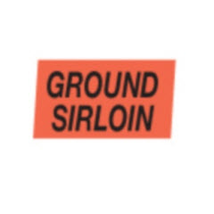 """Ground Sirloin"" Small Red Dayglo Label A109"