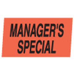 """Manager's Special"" Red Dayglo Label M100129"