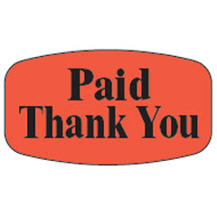 """Paid Thank You"" Small Red Dayglo Label M100128"