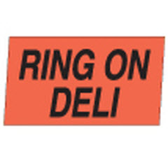 """Ring on Deli"" Small Red Dayglo Label M100114"