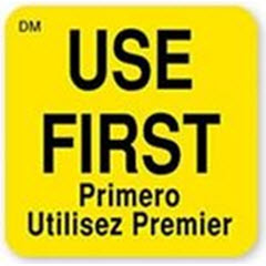 "1""x1"" DissolveMark™ ""Use First"" Multilingual Yellow Label IT110086"