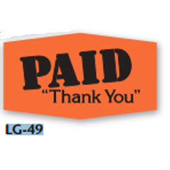 """Paid"" Grabber Red Dayglo Label LG-49"