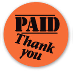 """Paid, Thank You"" Red Dayglo Label CR5-21"