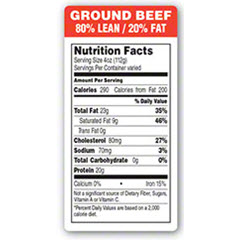 """Ground Beef"" 80% Lean 20% Fat Nutrition Panel Label GGB-80"