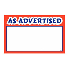 "3.5""x5.5"" As Advertised Print - White Sign Card with Red/Blue 100ct. 2021"