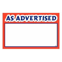 "5.5""x7"" As Advertised Print - White Sign Card with Red/Blue 100ct. 2031"