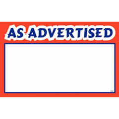 "7""x11"" As Advertised Print - White Sign Card with Red/Blue 100ct. 2041"