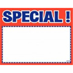 "7""x11"" Special! Print - White Sign Card with Red/Blue 100ct. 2042"
