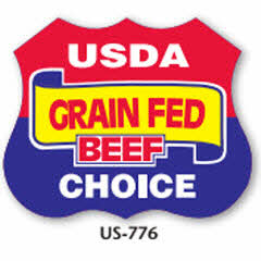 """USDA Grain Feed Beef Choice"" Shield Label US-776"