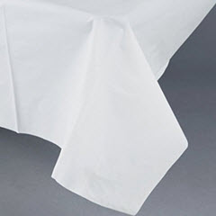 "54""x108"" White Plastic Tablecover 24ct. 01255B"